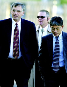 CVR Kobe Defense Att BH 8-30 Bret Hartman/bhartman@vaildaily.com Kobe Bryant Defense attorney's Hal Haddon, left, Mark Johnson, middle, and Ty Gee, right, enter the Eagle County Justice Center Monday for a pretrial hearing and jury selection.
